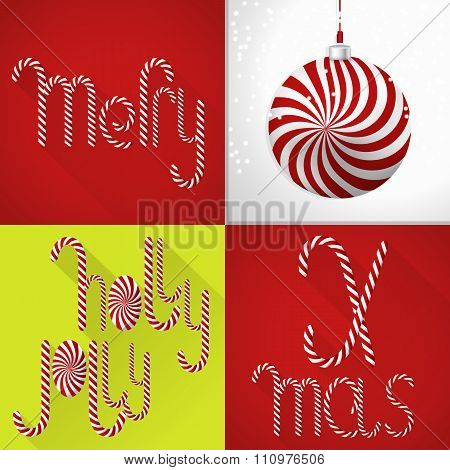 Christmas Card In A Modern Colorful Tile Design With Handmade Sweet Lolli Font And Christmas Ball