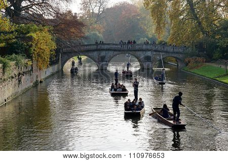 Punting On The River Cam, Cambridge, UK