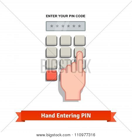 Hand finger entering with PIN code on a keypad