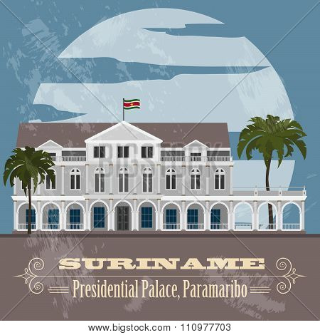 Suriname infographics, statistical data, sights. Presidential Palace in Paramaribo