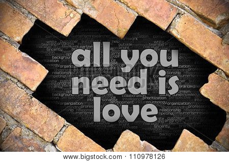 Hole In The Brick Wall With Word All You Need Is Love