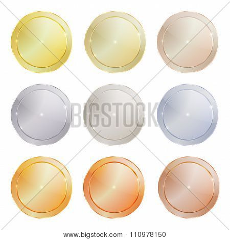 Vector Set Of Polished Metal Circular Shape Made Of Platinum, Gold, Red Gold, Silver, Bronze, Copper