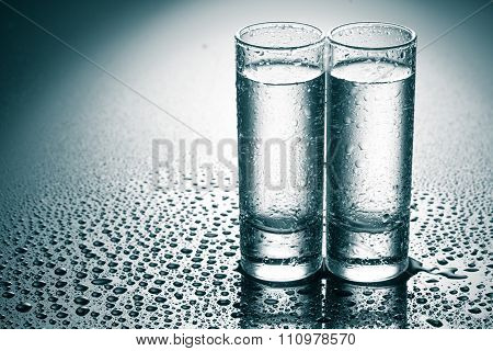 row of glasses for vodka