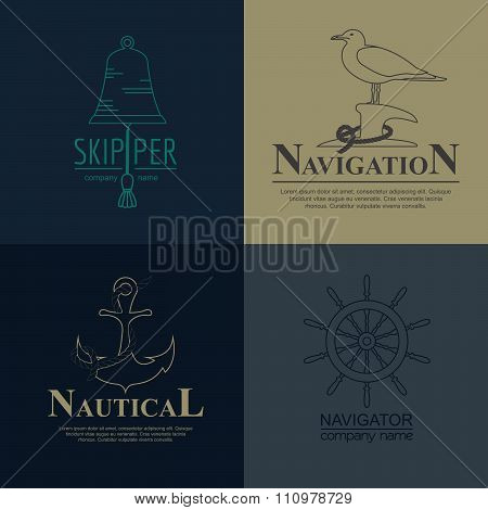 Set of sailing boat and nautical badge.