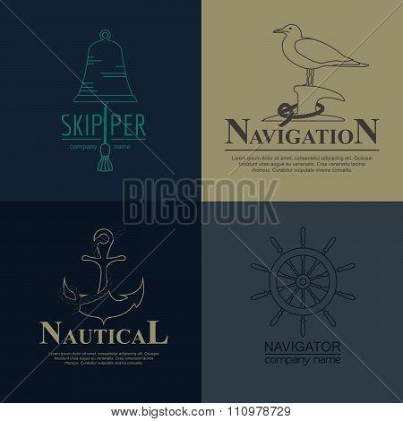 Set of sailing boat and nautical badge.