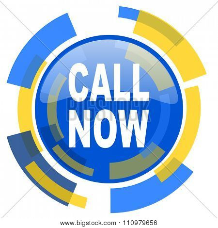 call now blue yellow glossy web icon
