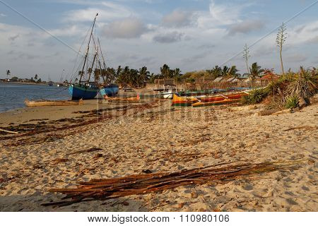 Belo, Madagascar, November 23, 2015 : Traditional Pirogues On The Beach. The Outrigger Canoes Are Us