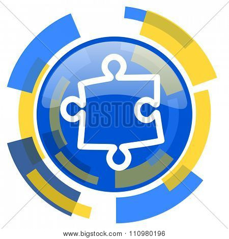 puzzle blue yellow glossy web icon