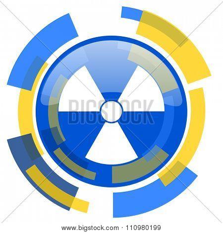 radiation blue yellow glossy web icon