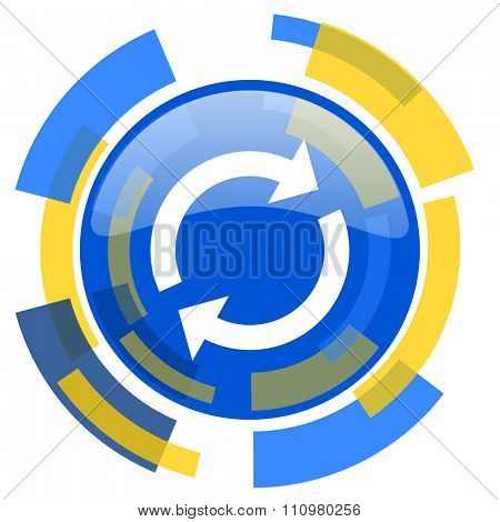 reload blue yellow glossy web icon