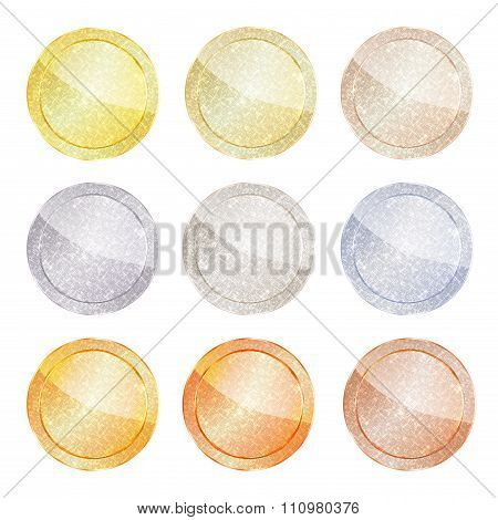 Vector Set Of Polished Round Shiny Disks From Platinum, Gold, Red Gold, Silver, Bronze, Copper, Alum