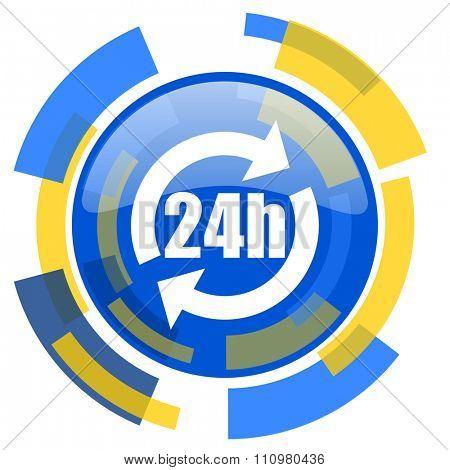 24h blue yellow glossy web icon