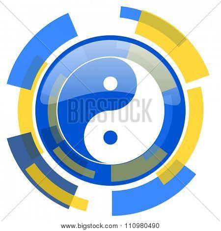 ying yang blue yellow glossy web icon