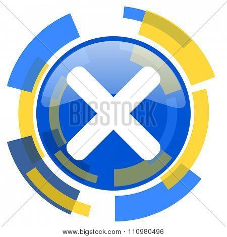 cancel blue yellow glossy web icon
