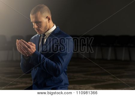 Businessman Prayer At Mosque