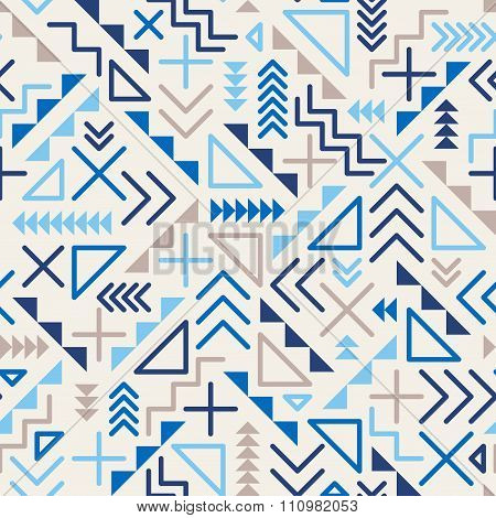 Vector Seamless Retro 80's  Jumble Geometric Line Shapes Blue Hipster Pattern On Grey Background