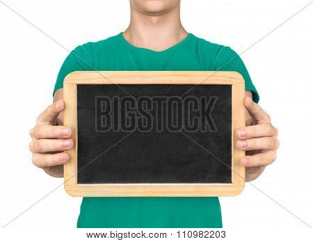 Doctor Holding The Board To Communicate With Deaf People On An Isolated White Background