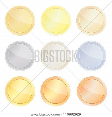 Vector Set Of Blank Templates Centric Circles For Coin, Price Tags, Buttons, Sewing, Buttons, Badges