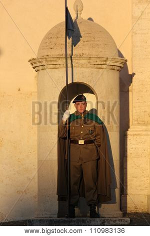 Honor Guard Holding A Flag At Quirinal Palace
