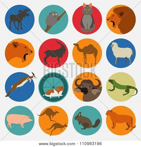 Animals Mammals Icon Set. Wild and pets. Vector Flat Style