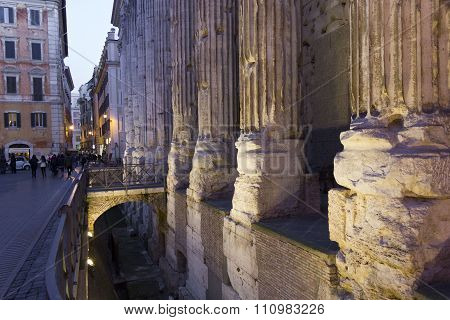 Close Up Of The Columns Of Hadrian Temple In Rome