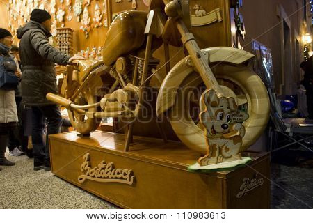 An Harley Davidson Hand Crafted In Wood