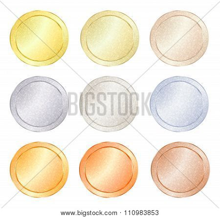 Set Of Blank Vector Templates For Coin, Price Tags, Buttons, Sewing, Buttons, Badges Or Medals With