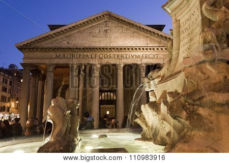 Close Up Of Fontana Del Pantheon