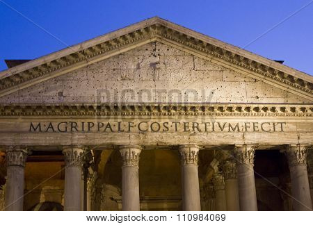 Pantheon Pediment Close Up At Night