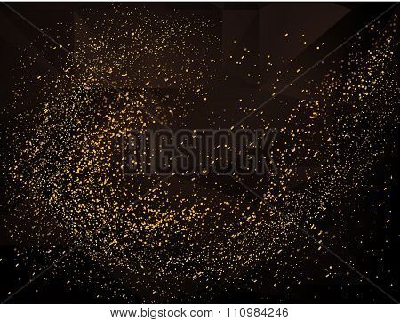 Gold Glitter Texture On A Black Background. Golden Star Dust. Golden Abstract  Texture On A Black  B