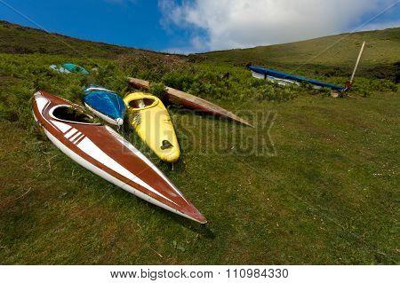 Abandoned canoes