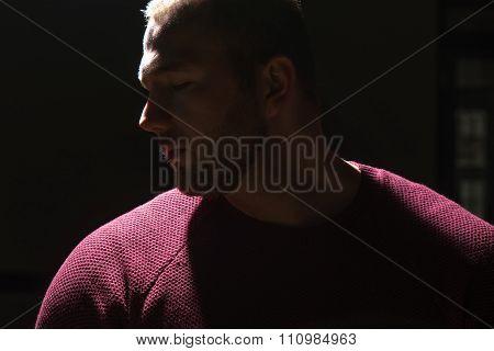 Muslim Man Praying In Dark Room