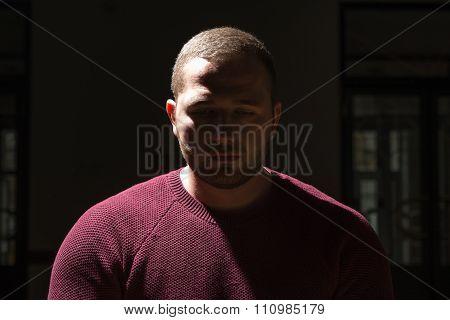 Muslim Man Is Praying In Dark Room