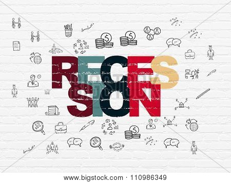 Business concept: Recession on wall background