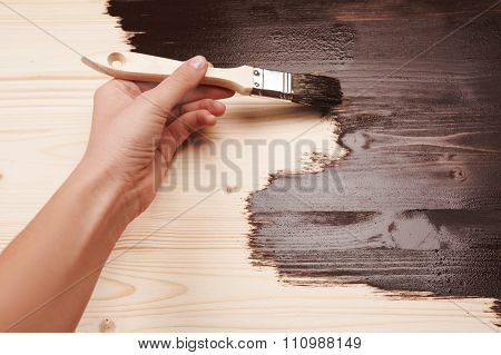 Half painted wooden surface