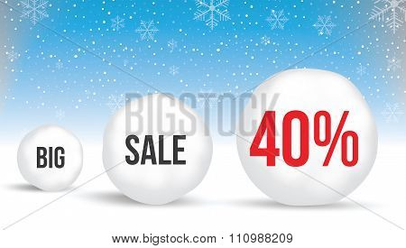 40  Percent, Sale Background With Snowballs And Snow. Sale. Winter Sale. Christmas Sale. New Year Sa