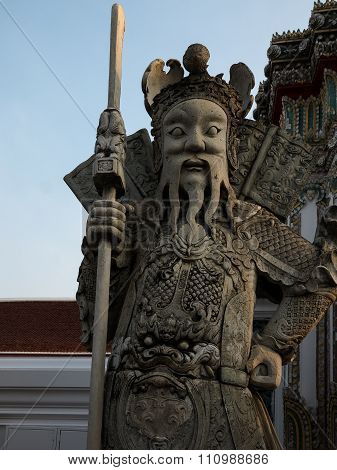 Giant Chinese Guardian Figure At Wat Pho