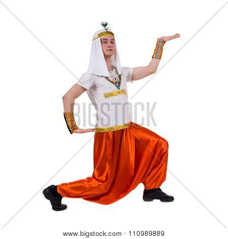 Dancing pharaoh wearing a egyptian costume.