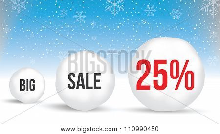 25  Percent, Sale Background With Snowballs And Snow. Sale. Winter Sale. Christmas Sale. New Year Sa
