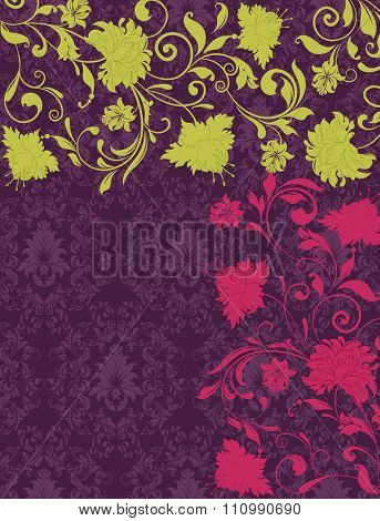 Vintage invitation card with ornate elegant retro abstract floral design, yellow green and radical red flowers and leaves on dark purple background. Illustration.