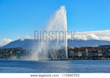 GENEVA, SWITZERLAND - NOVEMBER 18, 2015: view of Jet d'Eau. The Jet d'Eau is a large fountain in Geneva, Switzerland, and is one of the city's most famous landmarks