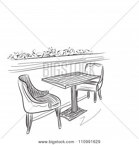 Drawing cafe interior.