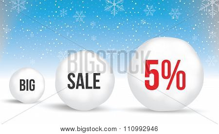 5 Percent, Sale Background With Snowballs And Snow. Sale. Winter Sale. Christmas Sale. New Year Sale