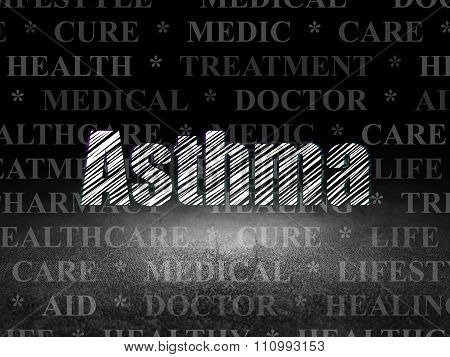 Healthcare concept: Asthma in grunge dark room