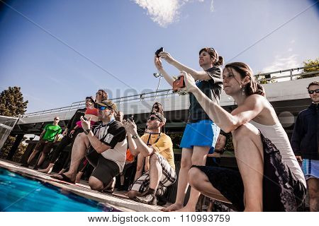 Cameras, Staff And Judges Analysing The Protocol Of A Freediver After Performance