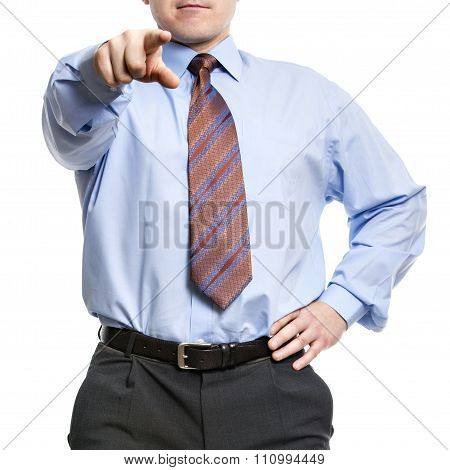 Businessman In Blue Shirt Pointing With Index Finger To Us