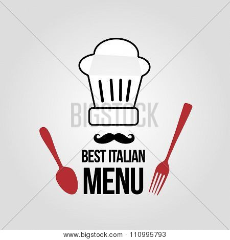 icon best italian menu with chef's hat