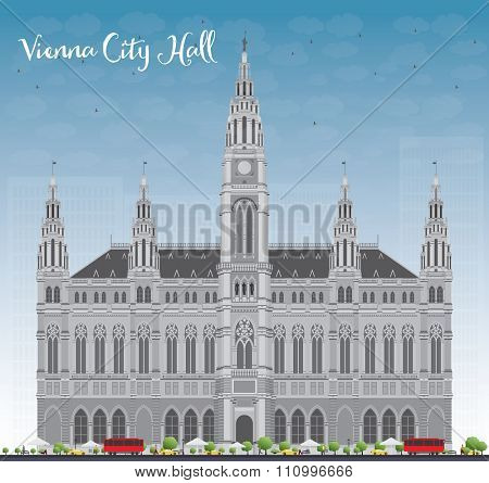 Vienna City Hall in gray color with blue sky. Vector illustration. Business travel and tourism concept with historic buildings. Image for presentation, banner, placard and web site.