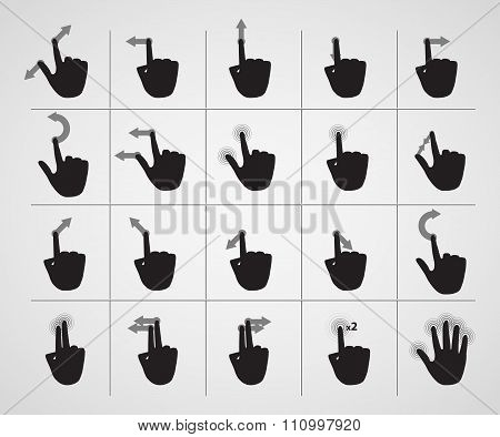 set of icons hand gestures with touch-screen