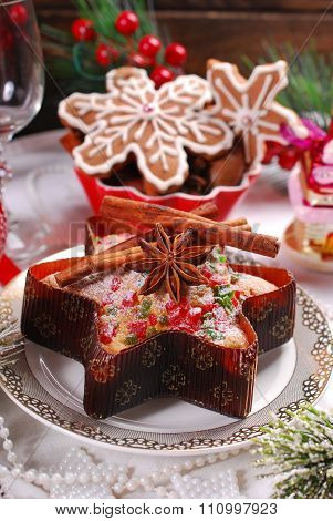 Star Shaped Cake With Dried Fruits And Gingerbread Cookies For Christmas